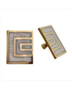 Moira Set of 2 Geometric Brass & Pearl Cream Knobs