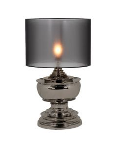 PAGODA TABLE LAMP BLK NICKEL