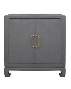 Renwick Grey Basketweave Grasscloth Cabinet
