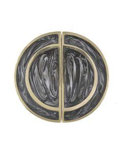 Rex Set of 2 Brass & Charcoal Knobs