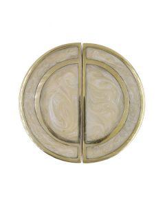 Rex Set of 2 Brass & Pearl Cream Knobs