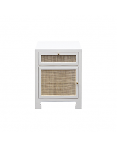 Ruth White Lacquer & Cane Side Table