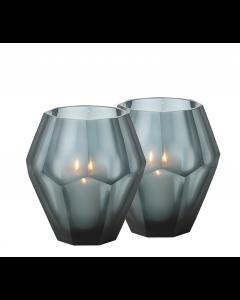 Okhto Large Blue Tealight Holder - Set of 2