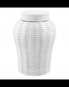 Fort Meyers Large White Ceramic Rattan Vase