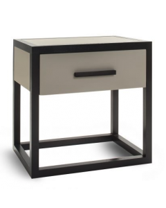 Roux Wenge Oak & Taupe Leather Bedside Table