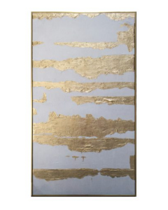Abstract Gold & Silver Hand Painted Oil Paint on Canvas