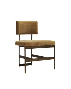 Shaw Bronze Dining Chair with Camel Velvet Cushion