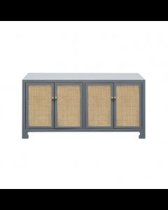 Sofia Grey Lacquer Cane Cabinet