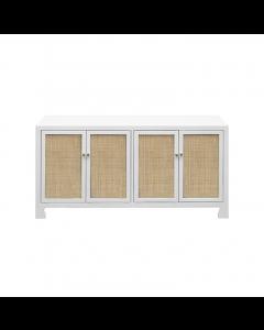 Sofia White Lacquer Cane Cabinet