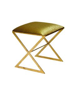 Worlds Away X Side Gold Stool with Gold Dot Seat